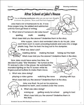 After School At Jake's House (Drawing Conclusions) - Printable Worksheet