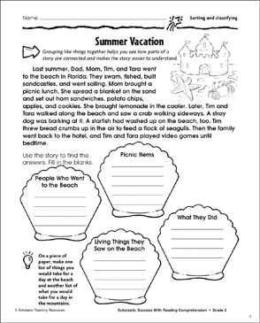 Summer Vacation (Sorting and Classifying) - Printable Worksheet