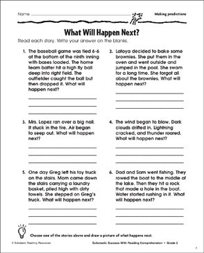 What Will Happen Next (Making Predictions) - Printable Worksheet