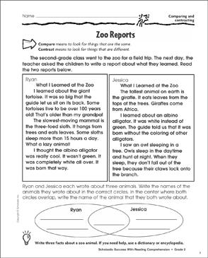 Zoo Reports (Comparing and Contrasting) - Printable Worksheet