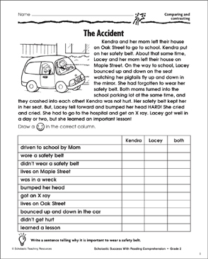 The Accident (Comparing and Contrasting) - Printable Worksheet