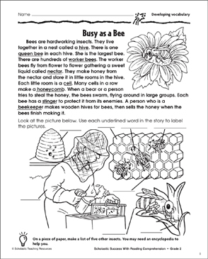 Busy As A Bee (Developing Vocabulary) - Printable Worksheet