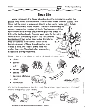 Sioux Life (Developing Vocabulary) - Printable Worksheet