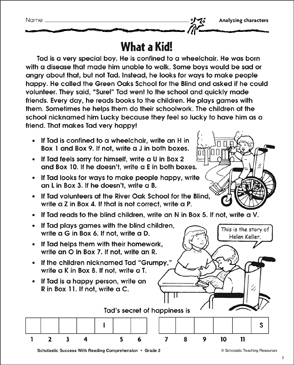 What A Kid (Analyzing Characters) - Printable Worksheet