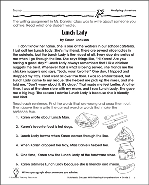 Lunch Lady (Analyzing Characters) - Printable Worksheet