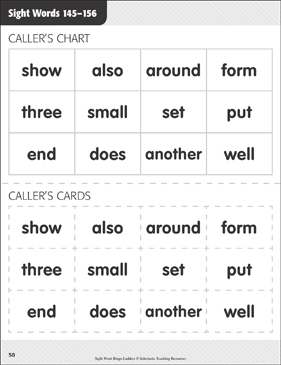 Bingo Ladders: Sight Words 145-156 - Printable Worksheet
