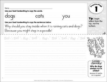 Manuscript Practice 1: Jokes & Riddles - Printable Worksheet