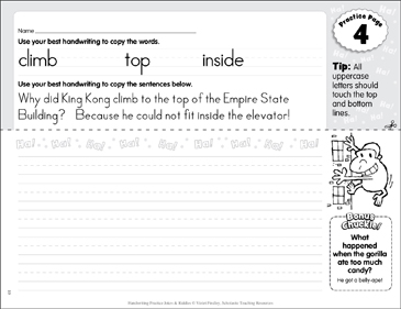 Manuscript Practice 4: Jokes & Riddles - Printable Worksheet