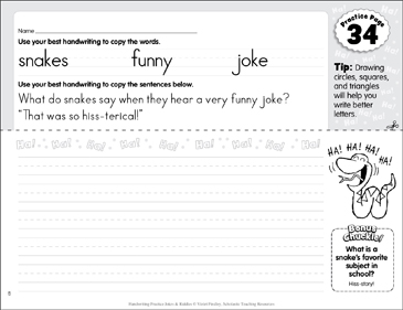 Manuscript Practice 34: Jokes & Riddles - Printable Worksheet