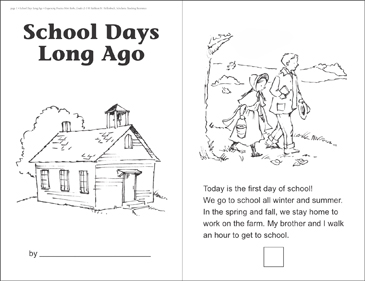 School Days Long Ago: Sequencing Mini-Book - Printable Worksheet