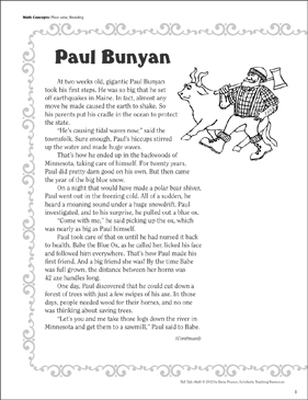 Paul Bunyon (Place Value, Rounding): Tall Tale Math - Printable Worksheet