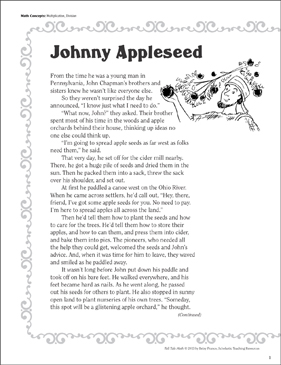 photograph regarding Johnny Appleseed Printable Story called Johnny Appleseed (Multiplication, Section): Tall Story Math