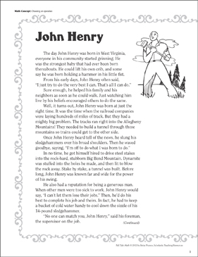 John Henry (Choosing an Operation): Tall Tale Math - Printable Worksheet