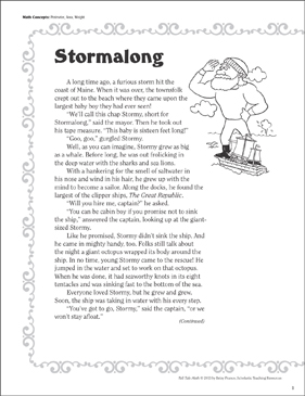Stormalong (Perimeter, Area, Weight): Tall Tale Math - Printable Worksheet