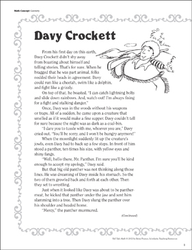 Davy Crockett (Geometry): Tall Tale Math - Printable Worksheet