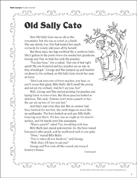 Old Sally Cato (Fractions, Decimals): Tall Tale Math - Printable Worksheet