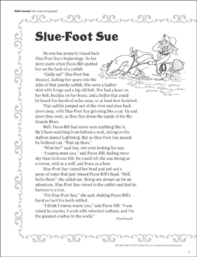 Slue-Foot Sue (Data Analysis-Using Graphs): Tall Tale Math - Printable Worksheet