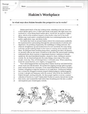 Hakim's Workplace: Text & Questions - Printable Worksheet