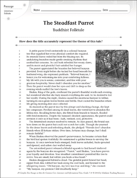 The Steadfast Parrot: Text & Questions - Printable Worksheet