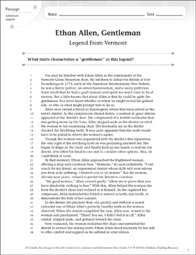 Ethan Allen, Gentleman: Text & Questions - Printable Worksheet