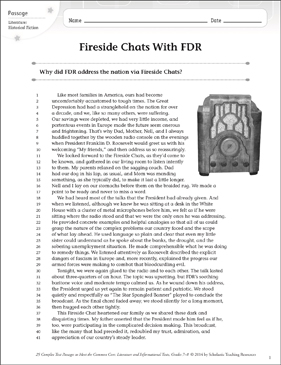 Fireside Chats With FDR: Text & Questions - Printable Worksheet