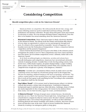 Considering Competition: Text & Questions - Printable Worksheet