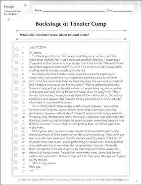 Backstage at Theater Camp: Text & Questions - Printable Worksheet