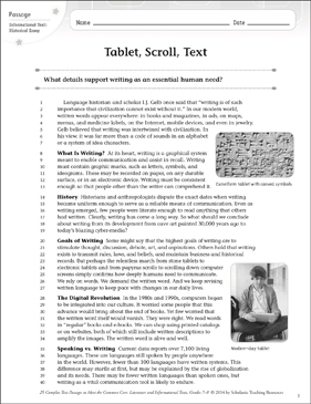 Tablet, Scroll, Text: Text & Questions - Printable Worksheet