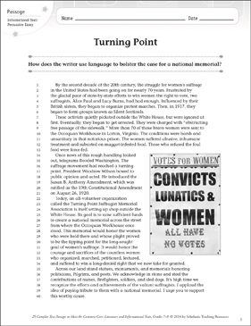 Turning Point: Text & Questions - Printable Worksheet