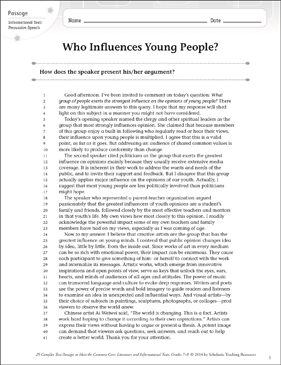 Who Influences Young People?: Text & Questions - Printable Worksheet