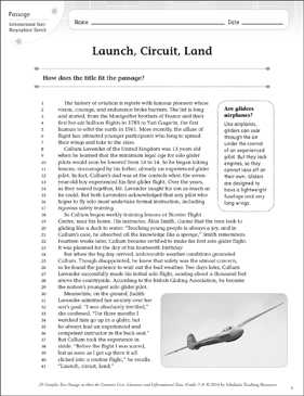 Launch, Circuit, Land: Text & Questions - Printable Worksheet