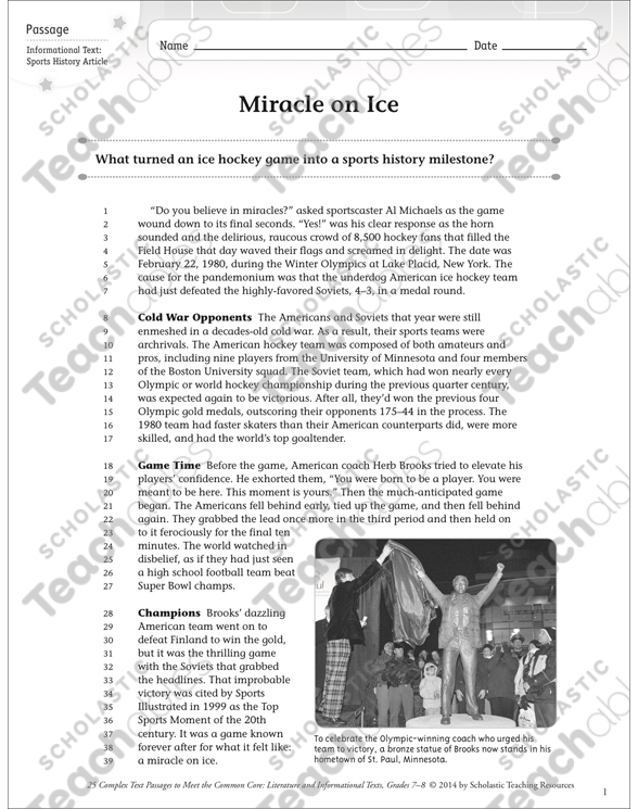 Miracle On Ice Text Questions Printable Texts And Skills Sheets