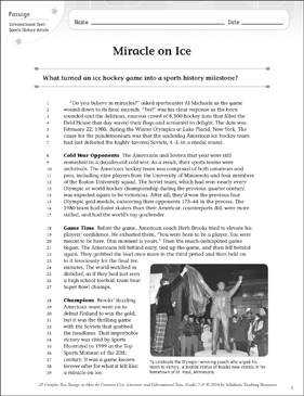 Miracle on Ice: Text & Questions - Printable Worksheet