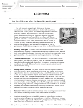 El Sistema: Text & Questions - Printable Worksheet