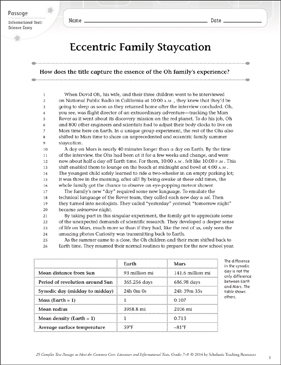 Eccentric Family Staycation: Text & Questions - Printable Worksheet