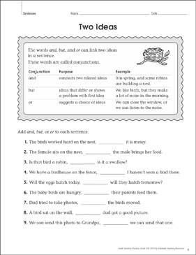 Two Ideas (Sentences): Grammar Practice Page - Printable Worksheet