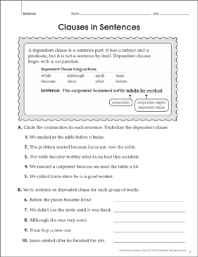 Clauses in Sentences: Grammar Practice Page - Printable Worksheet
