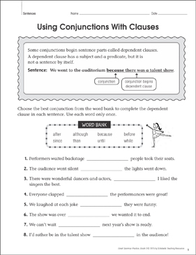 Using Conjunctions With Clauses: Grammar Practice Page - Printable Worksheet