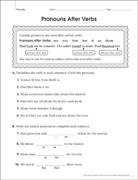 Pronouns After Verbs: Grammar Practice Page - Printable Worksheet
