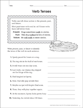 Verb Tenses: Grammar Practice Page - Printable Worksheet
