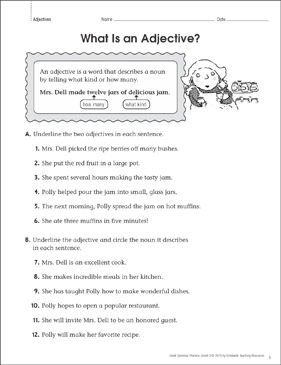What Is an Adjective? Grammar Practice Page - Printable Worksheet