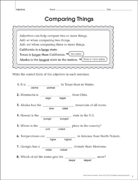 Comparing Things (Adjectives): Grammar Practice - Printable Worksheet