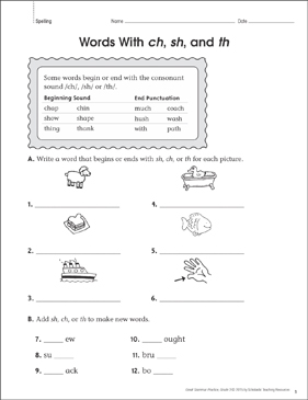 Words With ch, sh, and th (Spelling): Grammar Practice Page - Printable Worksheet