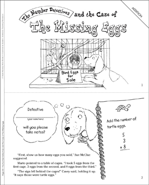 The Case of the Missing Eggs (Addition): Math Mystery Mini-Book - Printable Worksheet