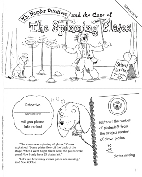The Case of the Spinning Plates (Subtraction): Math Mystery Mini-Book - Printable Worksheet