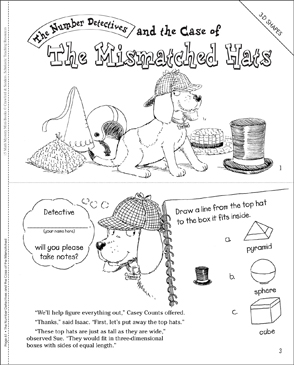 The Case of the Mismatched Hats (3-D Shapes) - Printable Worksheet