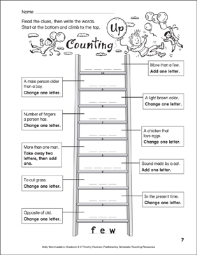 Counting Up Word Ladder (Grades 2-3) - Printable Worksheet