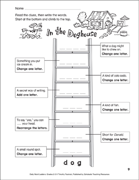 In the Doghouse Word Ladder (Grades 2-3) - Printable Worksheet