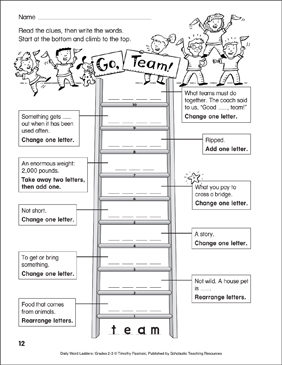 Go, Team! Word Ladder (Grades 2-3) - Printable Worksheet
