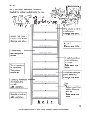 Barbershop Word Ladder (Grades 2-3) - Printable Worksheet